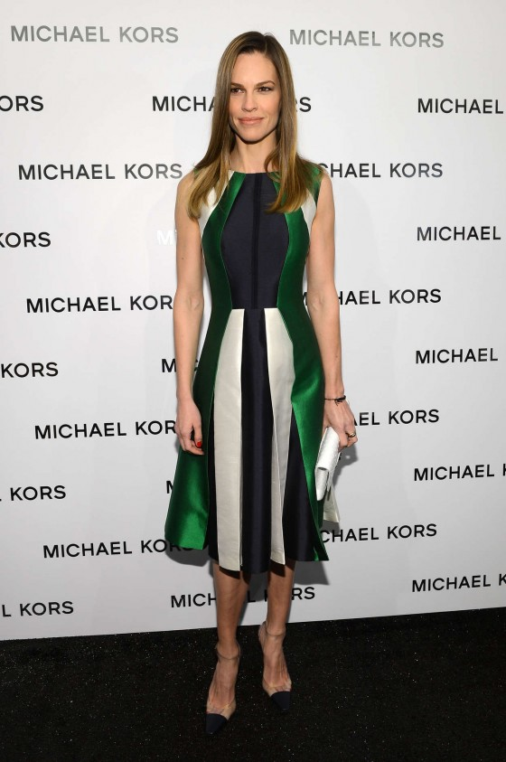 Hilary Swank in Green Stripe Dress at Michael Kors Fall 2013 fashion show -04