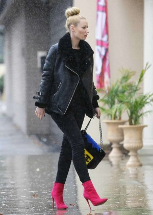 Iggy Azalea in Jeans and Pink Boots at Dr. Tattoff in Studio City