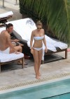 Ilary Blasi - In a White Bikini In Miami