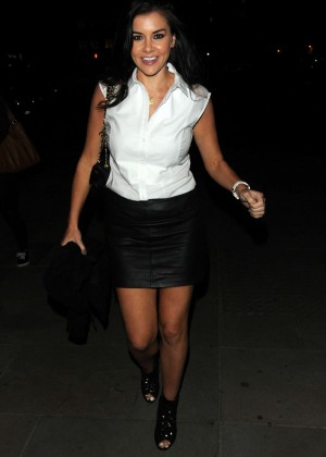 Imogen Thomas in Mini Skirt at Sushi Samba in London