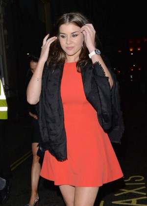 Imogen Thomas in Red Dress at Nobu Restaurant in Mayfair