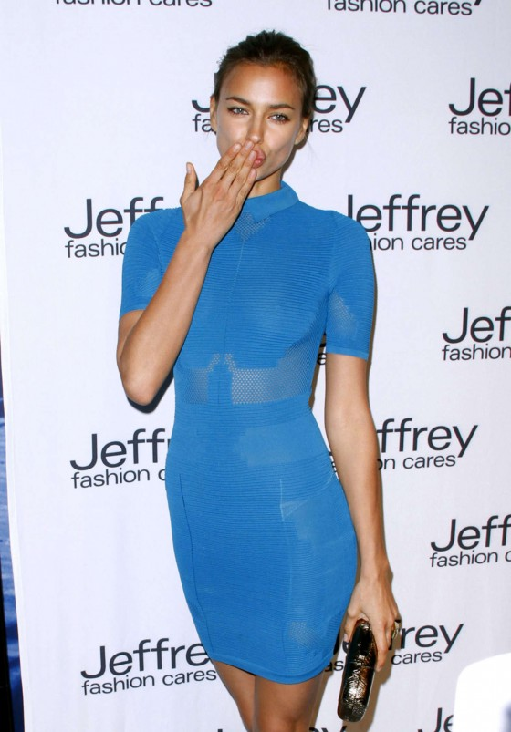Irina Shayk legs in tight small dress at Jeffrey Fashion Cares