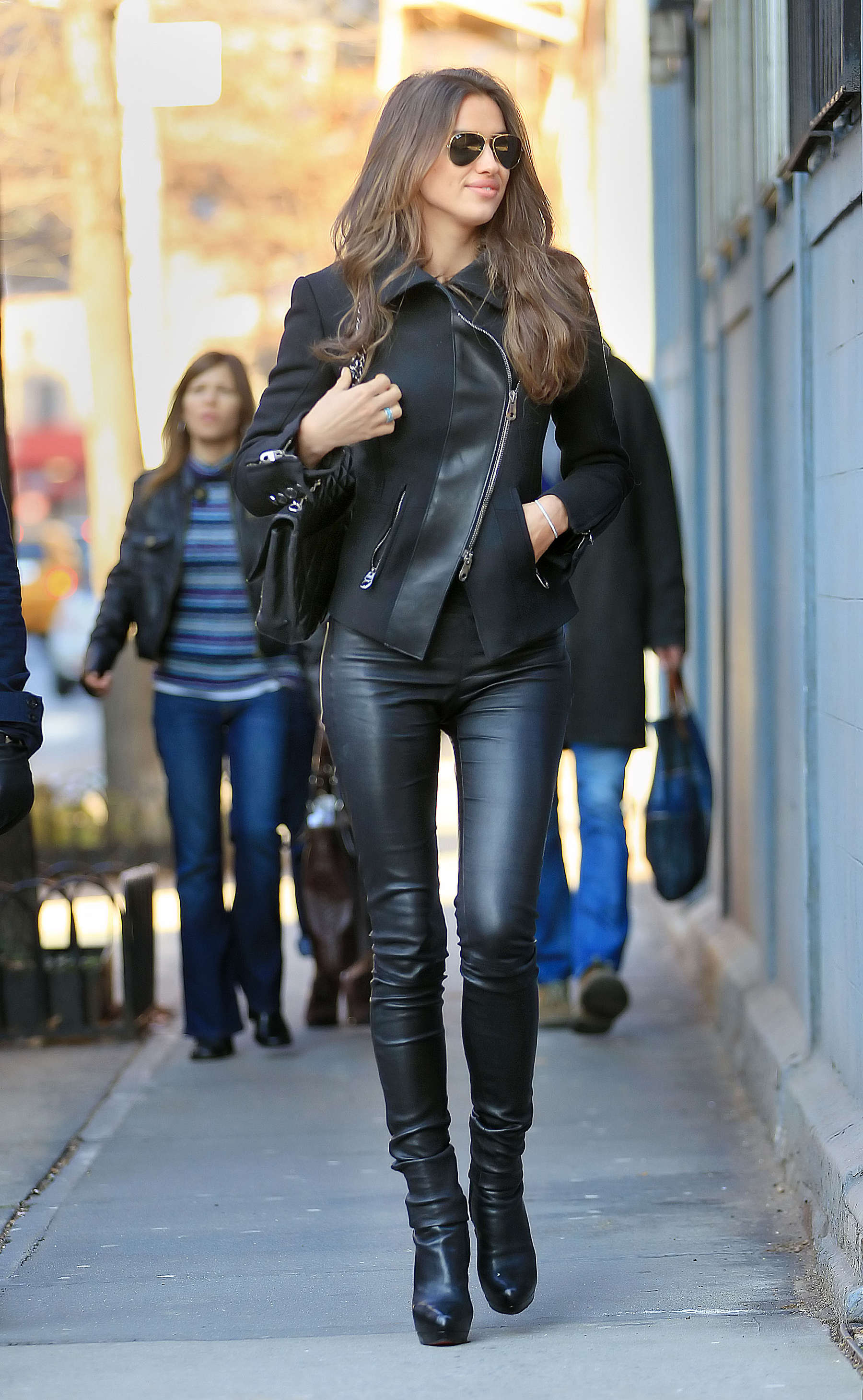 Irina Shayk Black Tight Pants Candids In Nyc Gotceleb