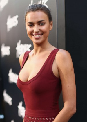 "Irina Shayk in Red Dress at ""Hercules"" Premiere in Los Angeles"