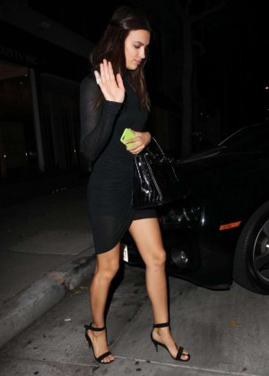 Irina Shayk in Black Mini Dress Leaving Koi Restaurant in West Hollywood