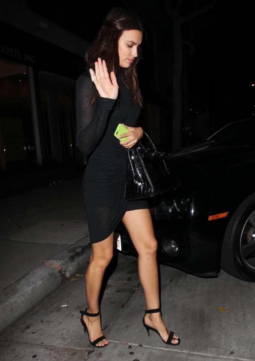 Irina Shayk in Black Mini Dress Leaving Koi Restaurant in West Hollywood