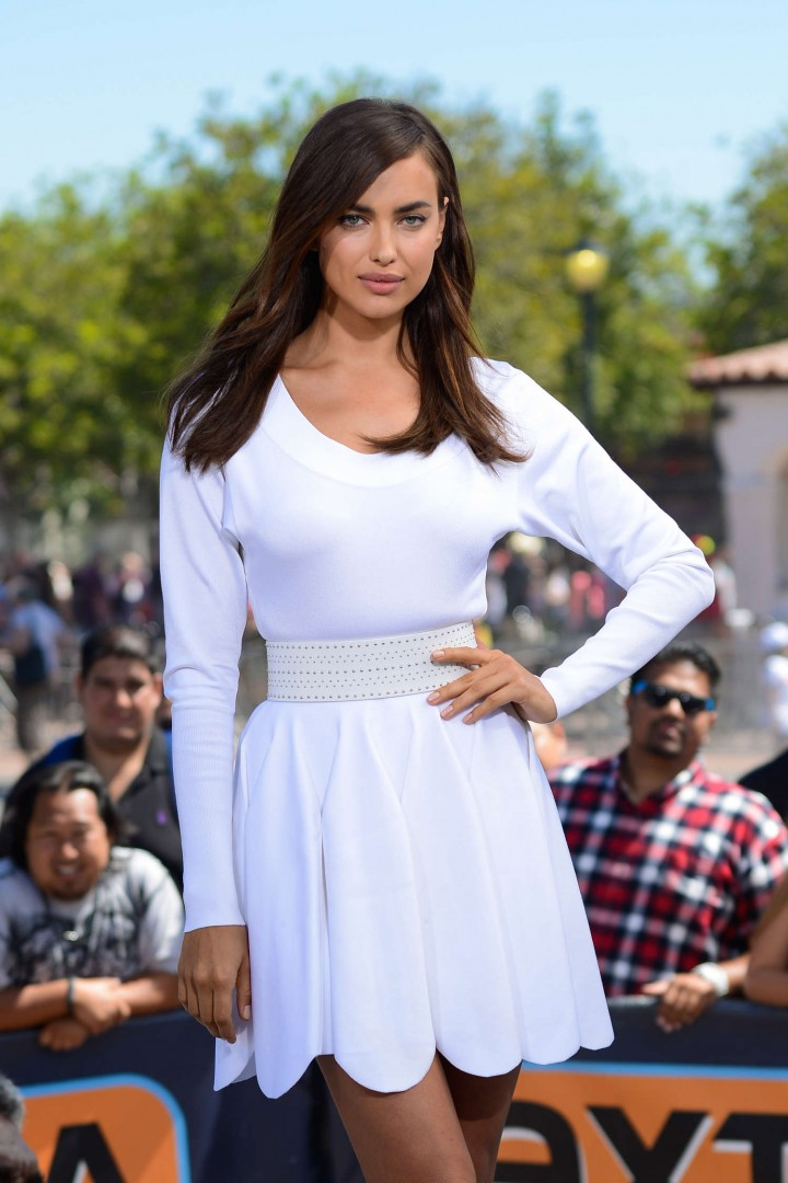 Irina Shayk in White Dress on Extra Set -01