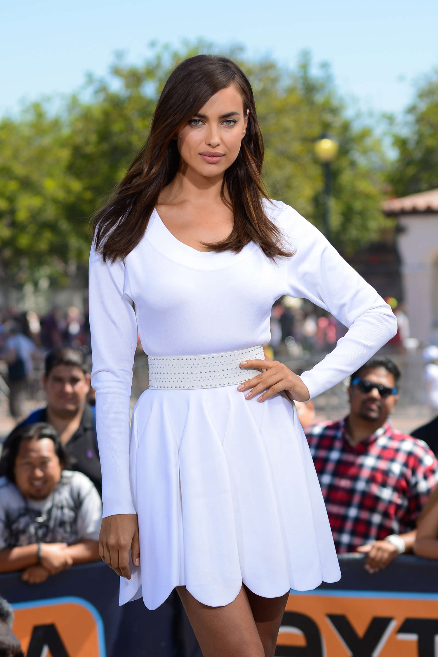 Irina Shayk in White Dress on Extra Set -01
