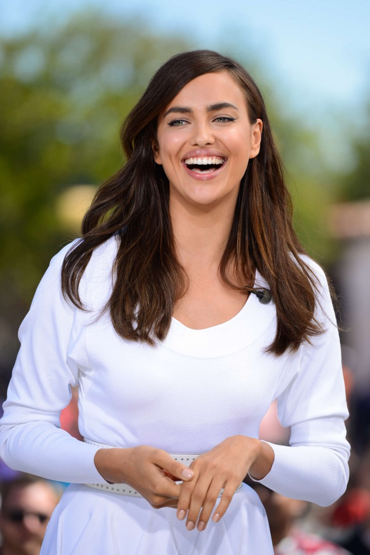 Irina Shayk in White Dress on Extra Set -05