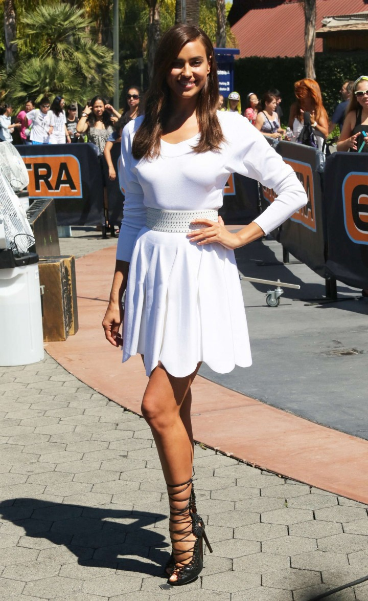 Irina Shayk in White Dress on Extra Set -07
