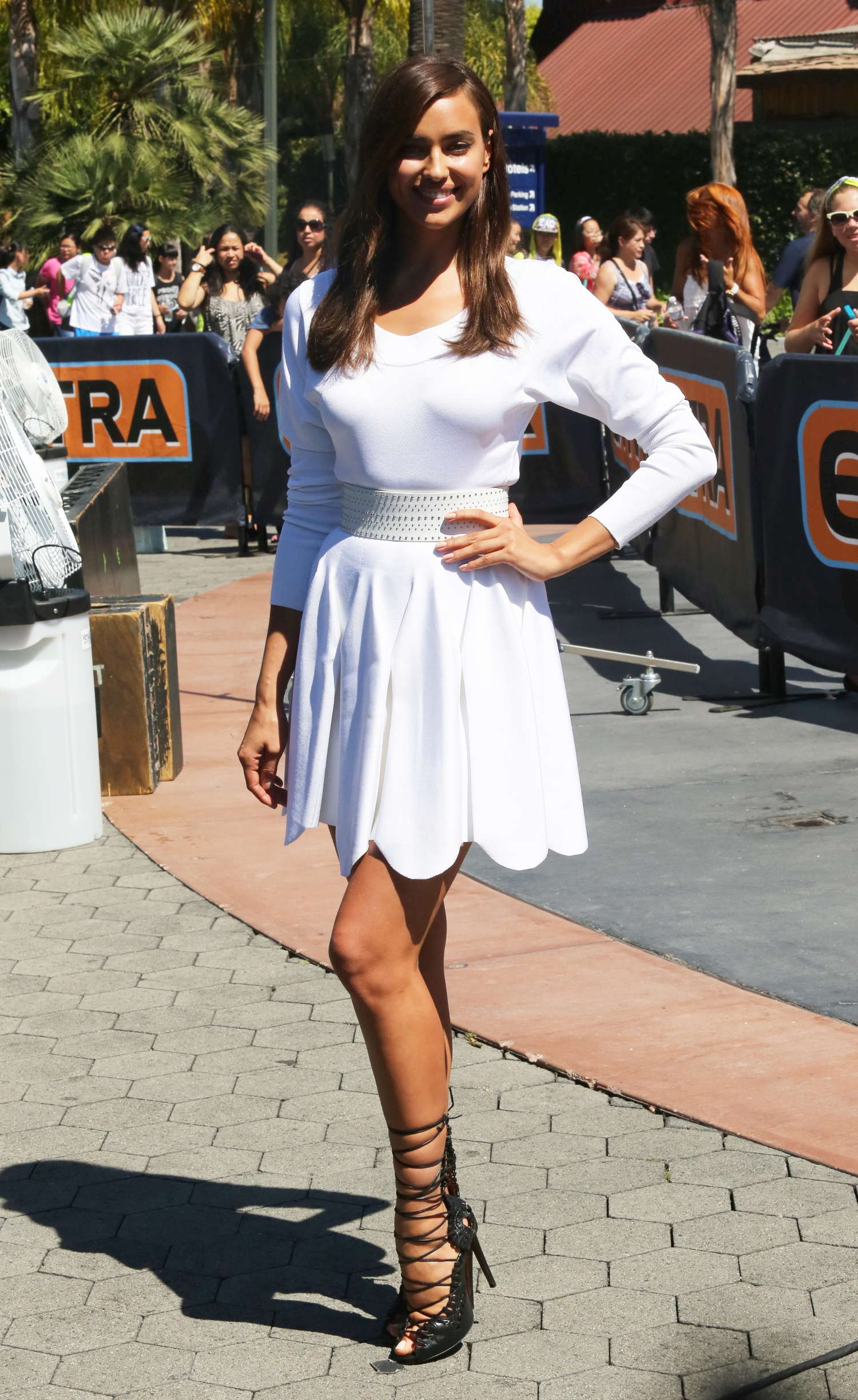 Irina Shayk 2014 : Irina Shayk in White Dress on Extra Set -07