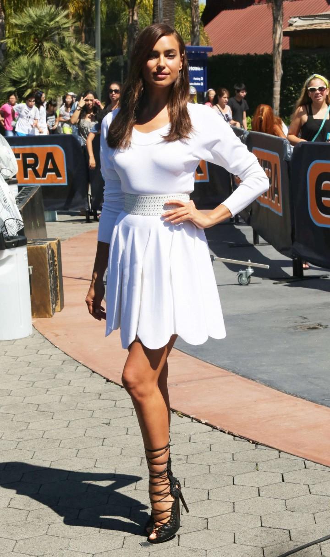 Irina Shayk 2014 : Irina Shayk in White Dress on Extra Set -08