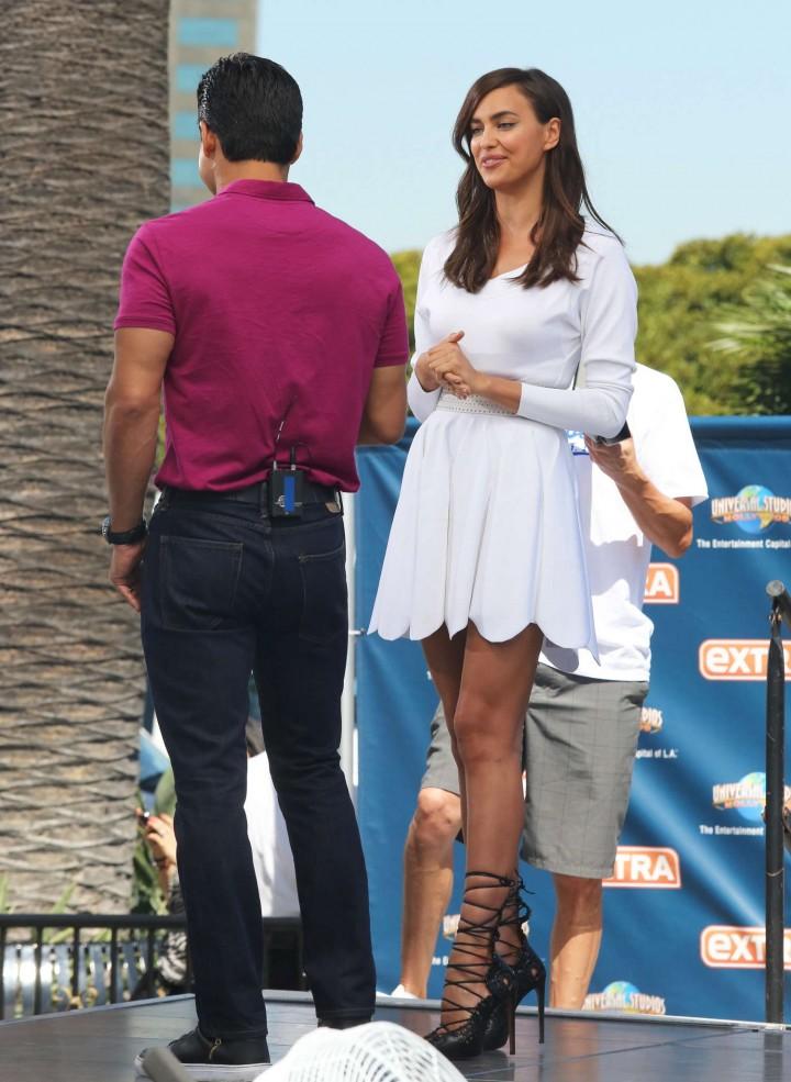 Irina Shayk in White Dress on Extra Set -09