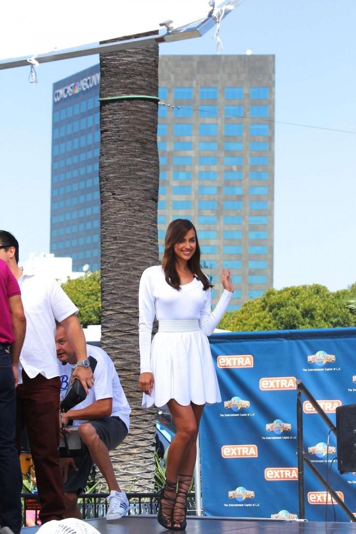 Irina Shayk in White Dress on Extra Set -11