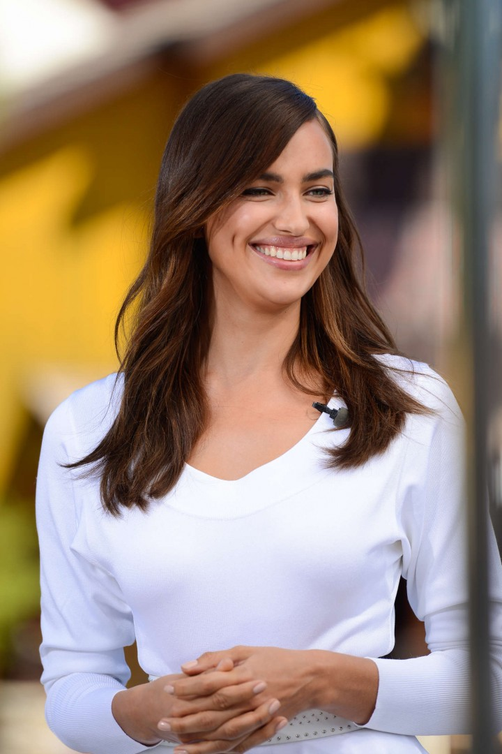 Irina Shayk in White Dress on Extra Set -14