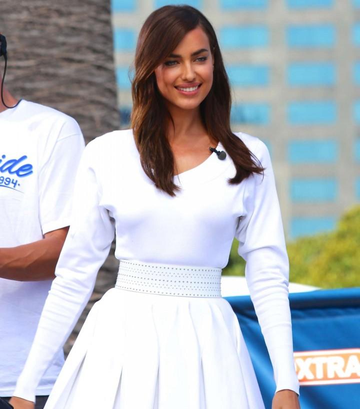 Irina Shayk in White Dress on Extra Set -15
