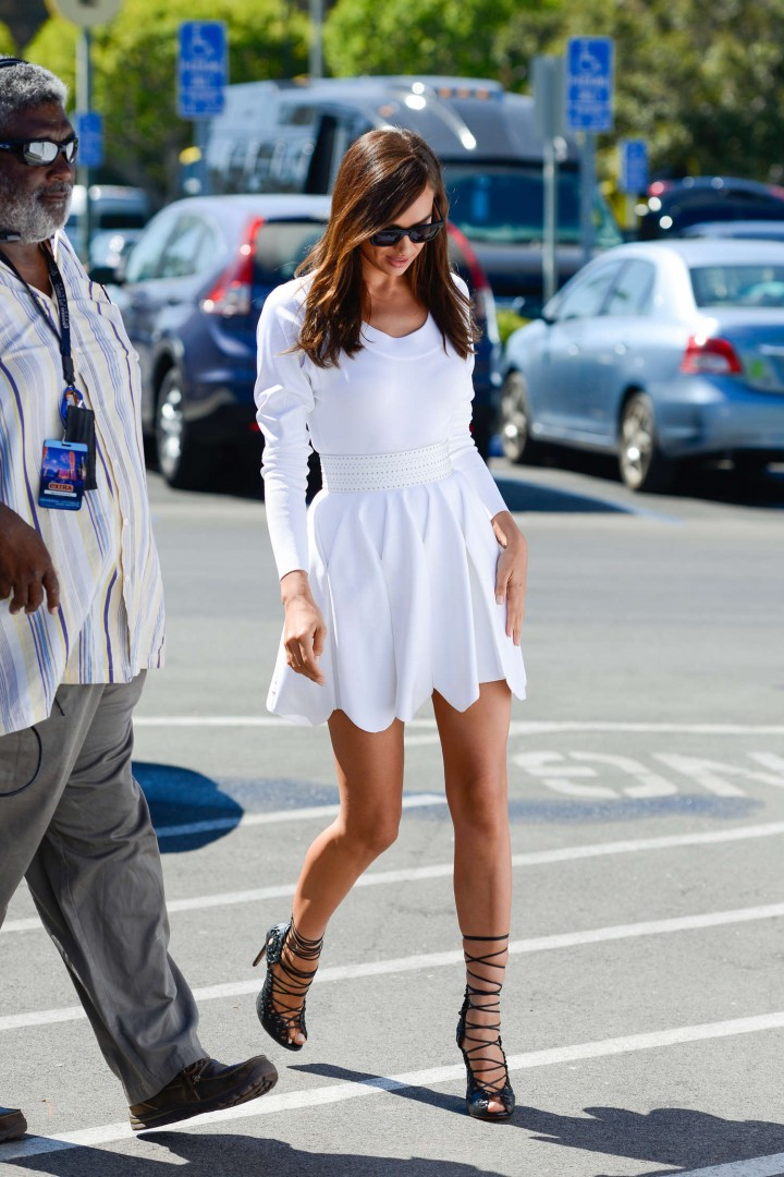 Irina Shayk in White Dress on Extra Set -16