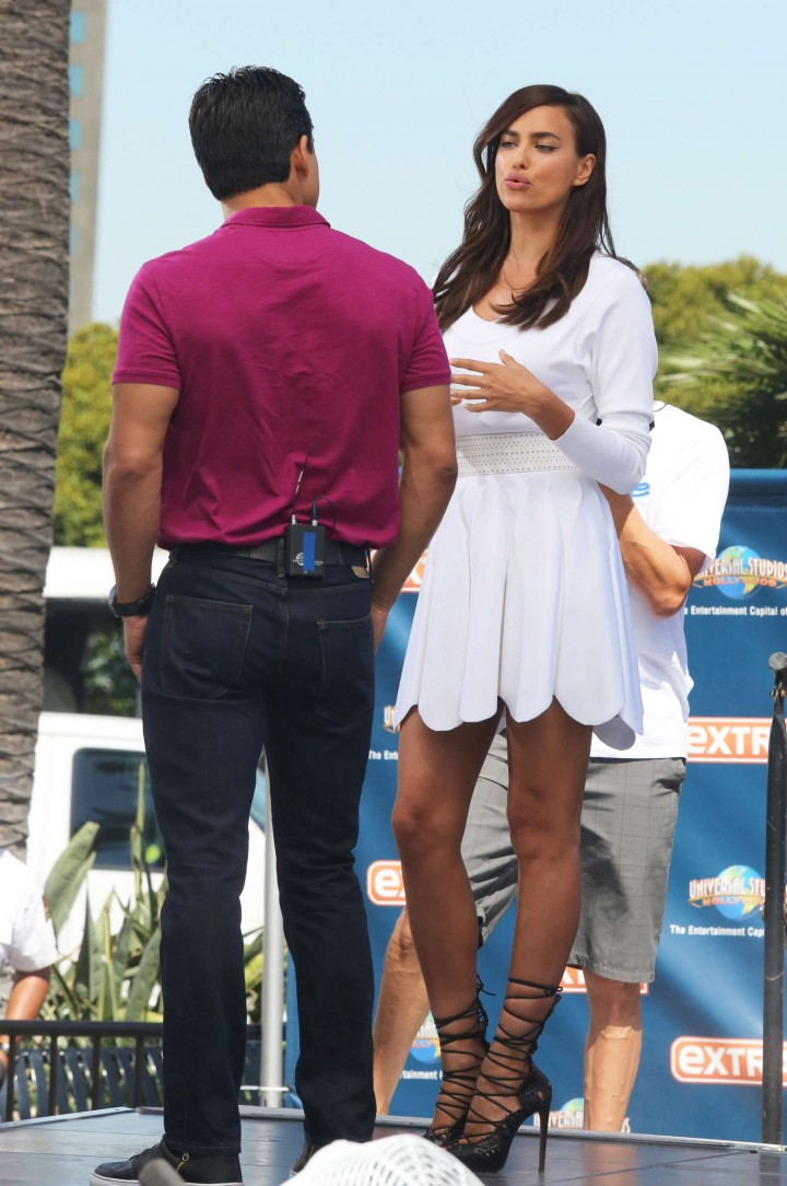 Irina Shayk in White Dress on Extra Set -17