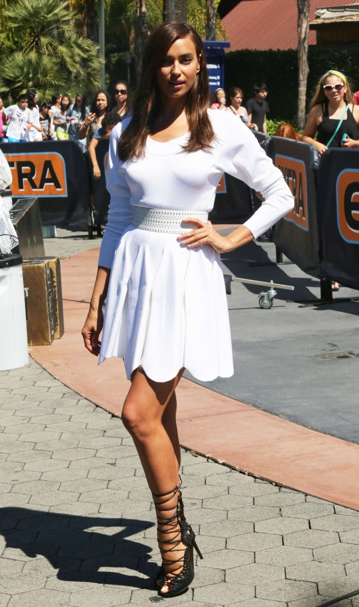Irina Shayk in White Dress on Extra Set -20