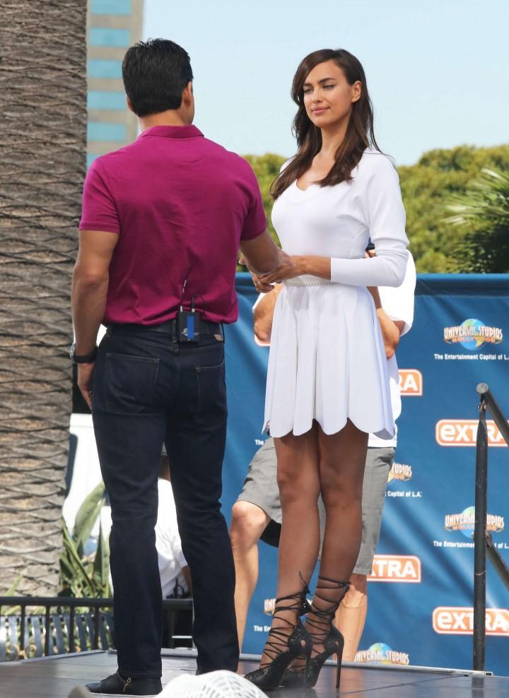 Irina Shayk 2014 : Irina Shayk in White Dress on Extra Set -22