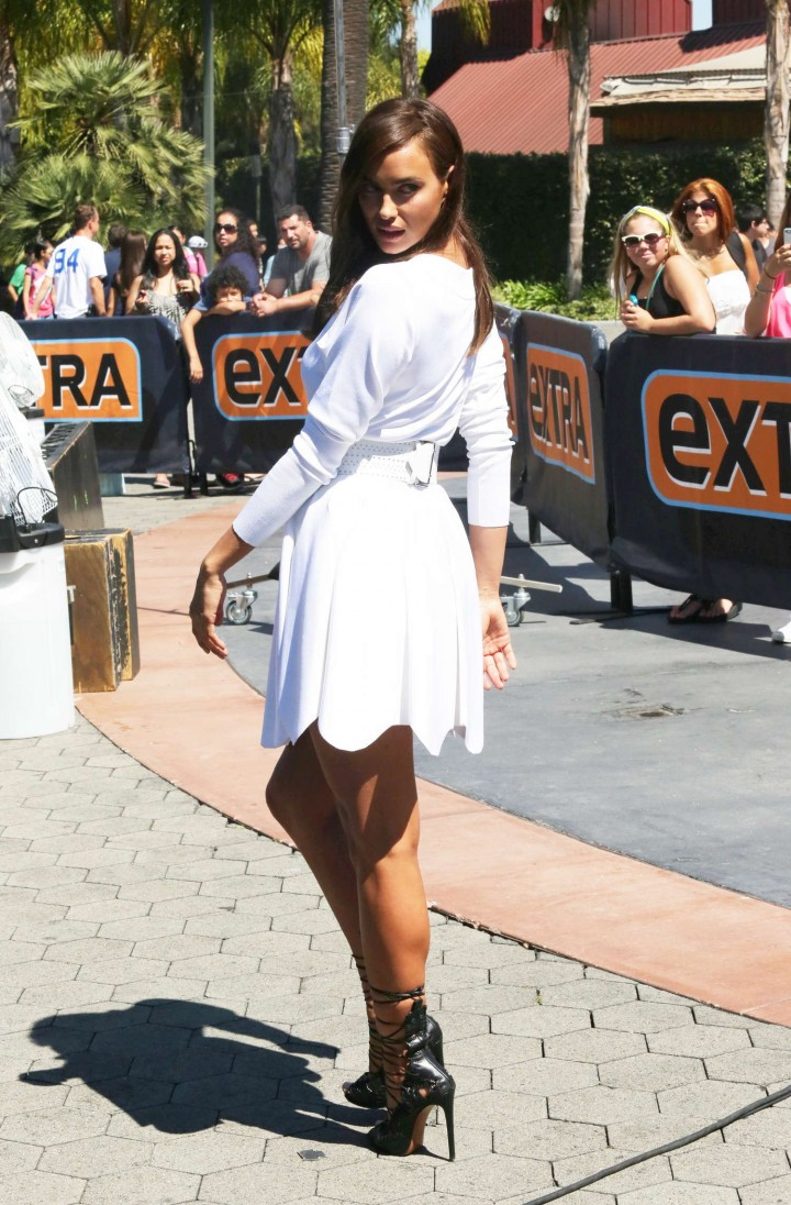 Irina Shayk in White Dress on Extra Set -23