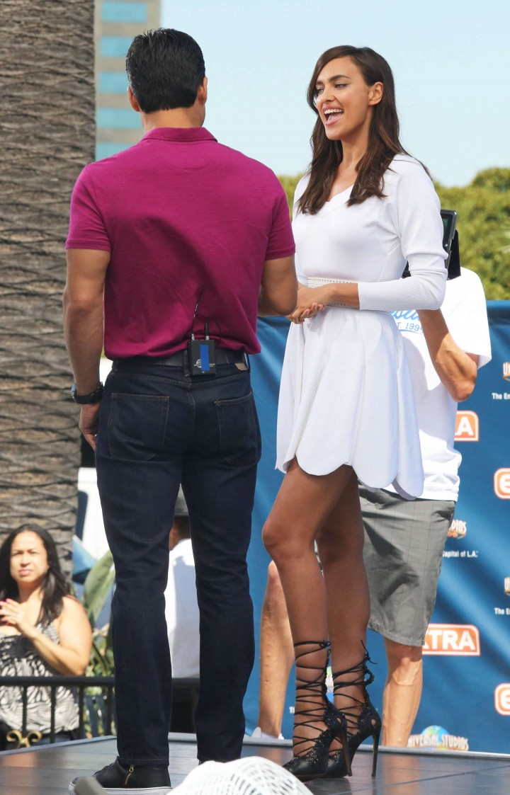 Irina Shayk 2014 : Irina Shayk in White Dress on Extra Set -24