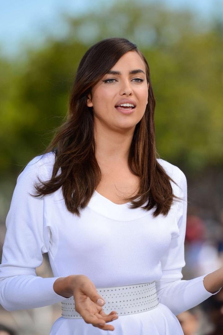 Irina Shayk in White Dress on Extra Set -26