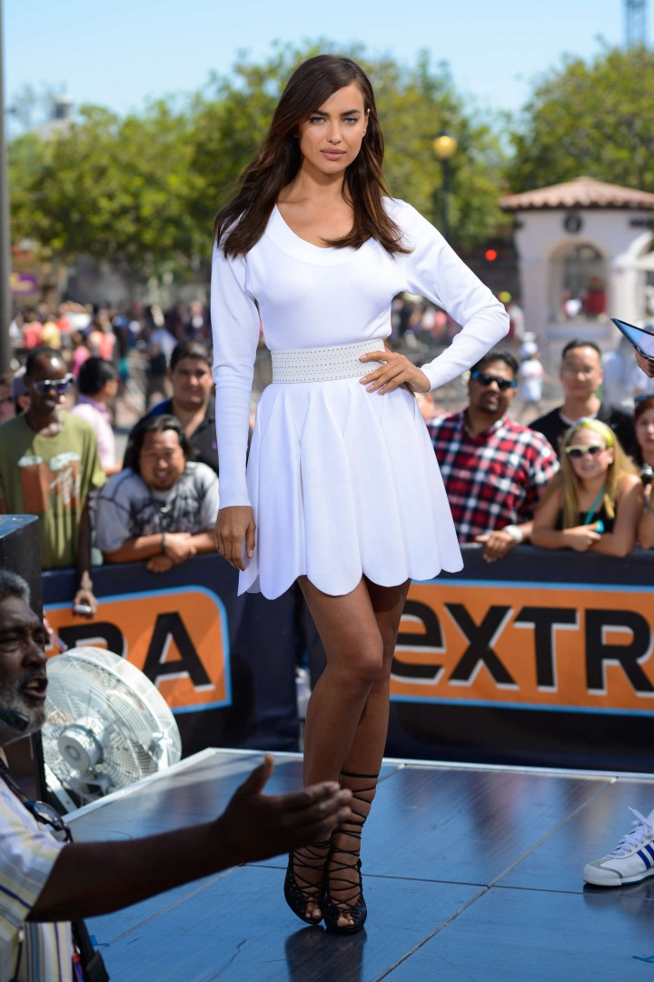 Irina Shayk 2014 : Irina Shayk in White Dress on Extra Set -27
