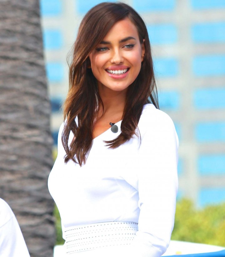 Irina Shayk in White Dress on Extra Set -36