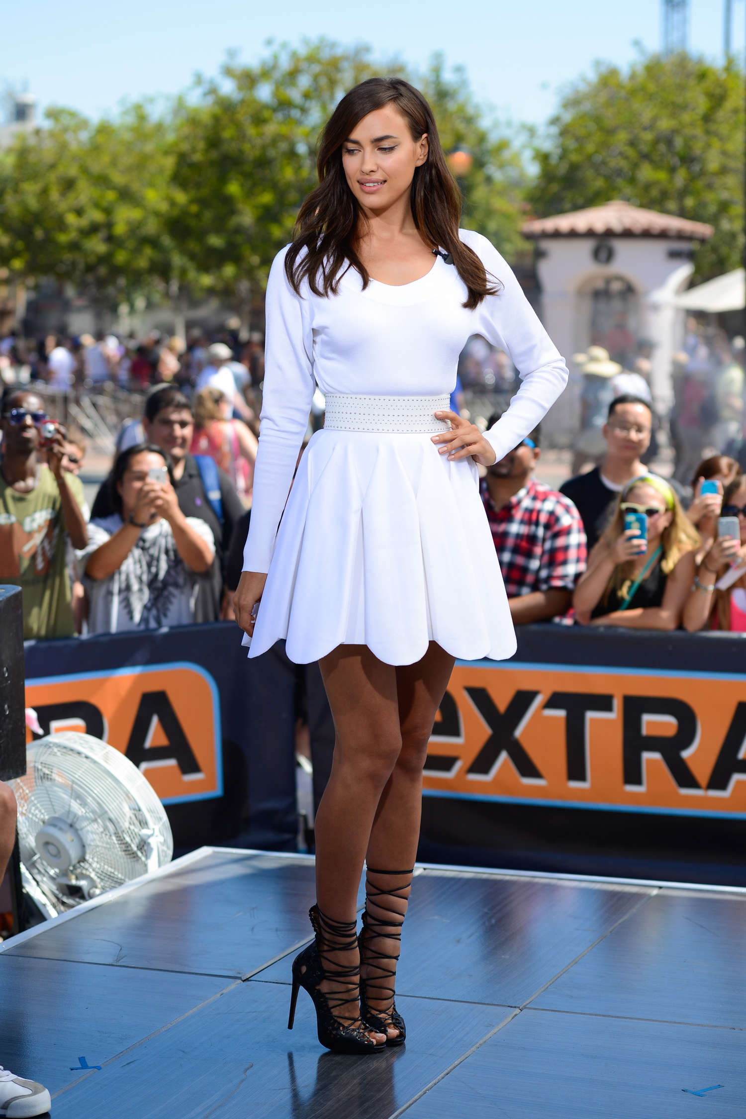 Irina Shayk in White Dress on Extra Set -37