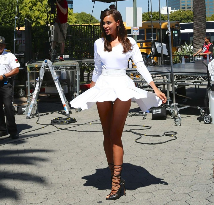 Irina Shayk in White Dress on Extra Set -42