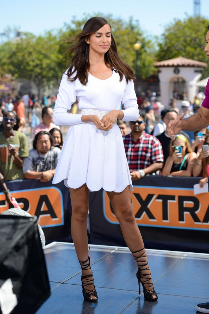 Irina Shayk in White Dress on Extra Set -43