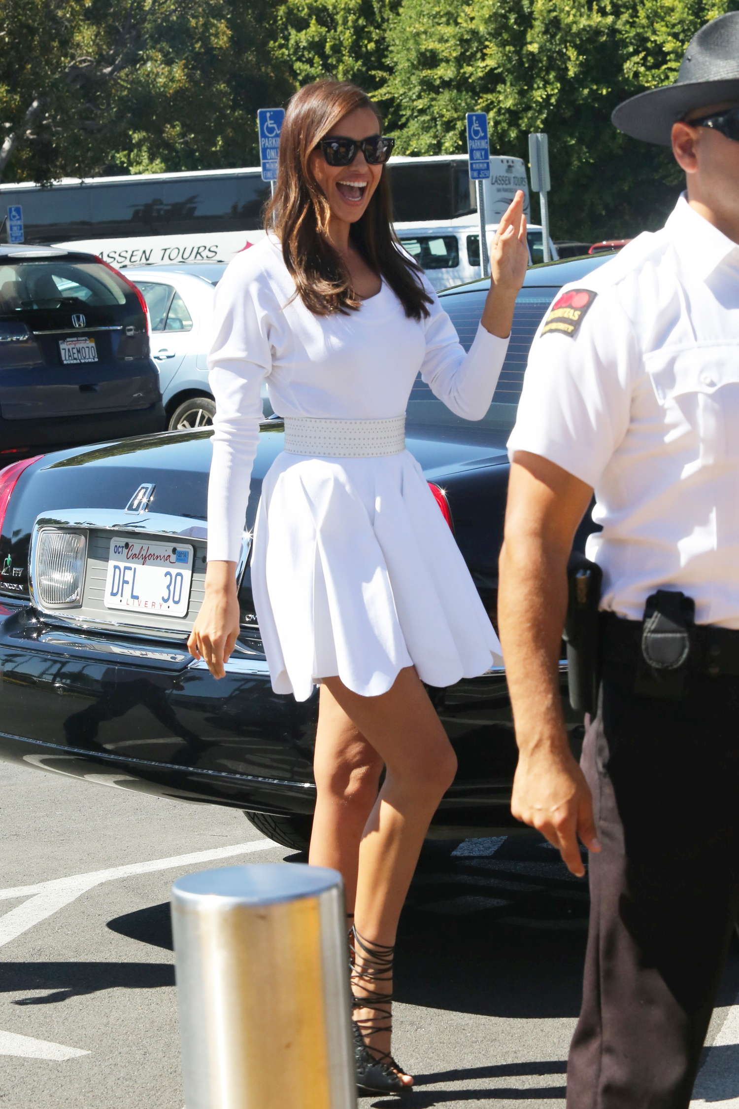 Irina Shayk 2014 : Irina Shayk in White Dress on Extra Set -45