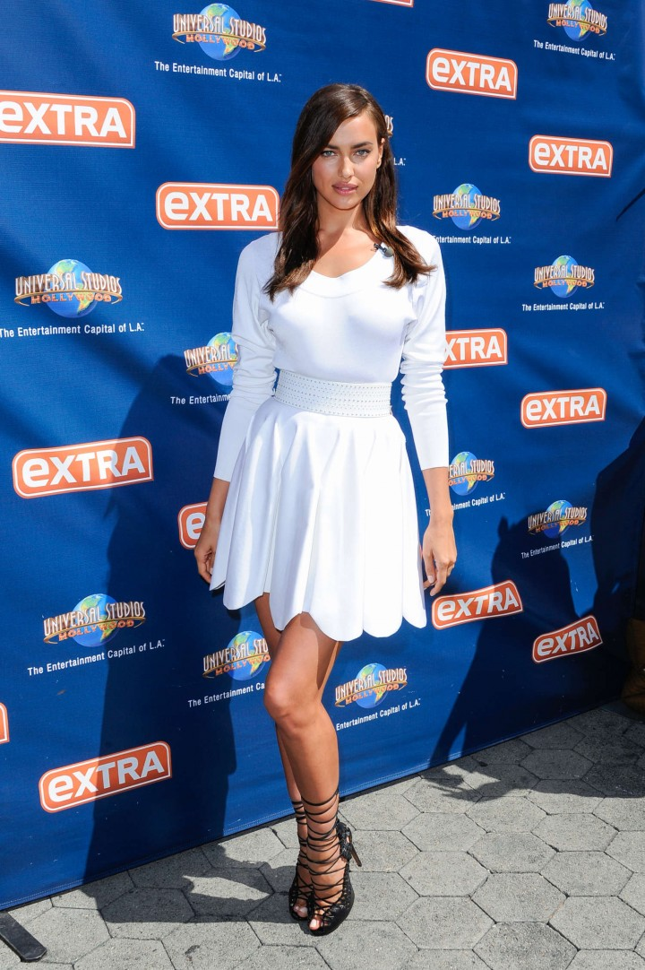 Irina Shayk in White Dress on Extra Set -46