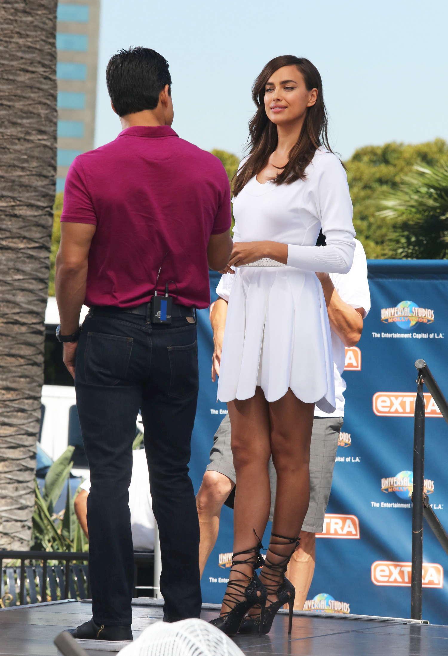 Irina Shayk 2014 : Irina Shayk in White Dress on Extra Set -48