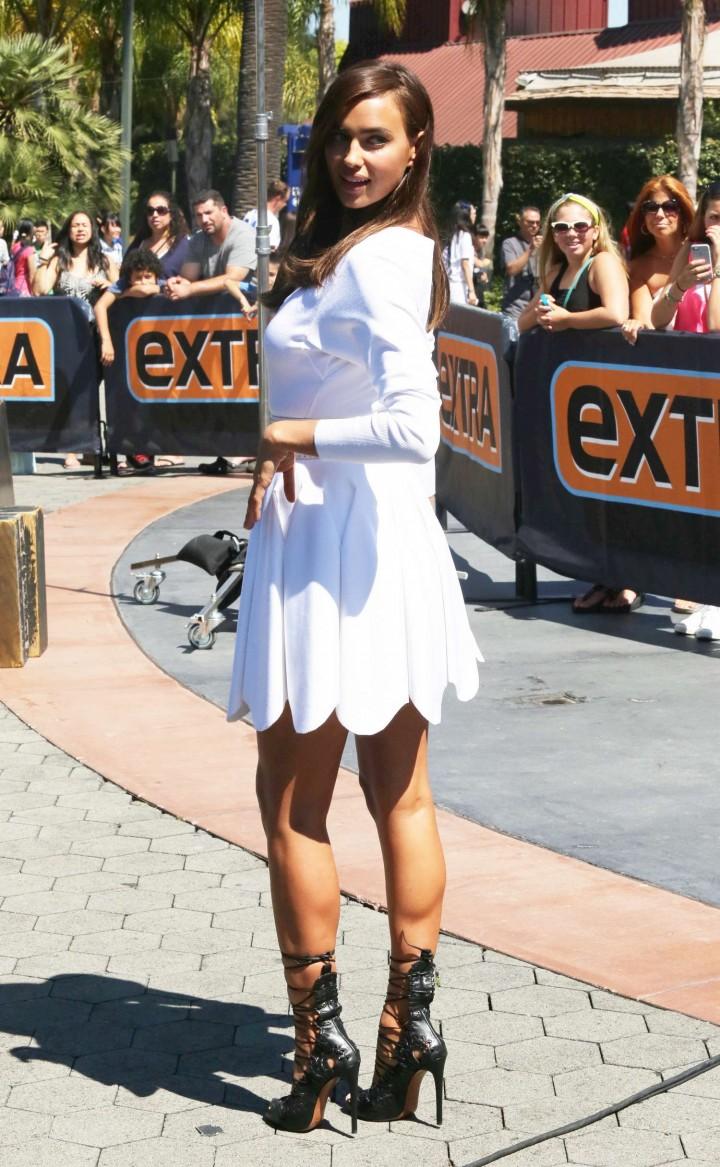Irina Shayk in White Dress on Extra Set -53