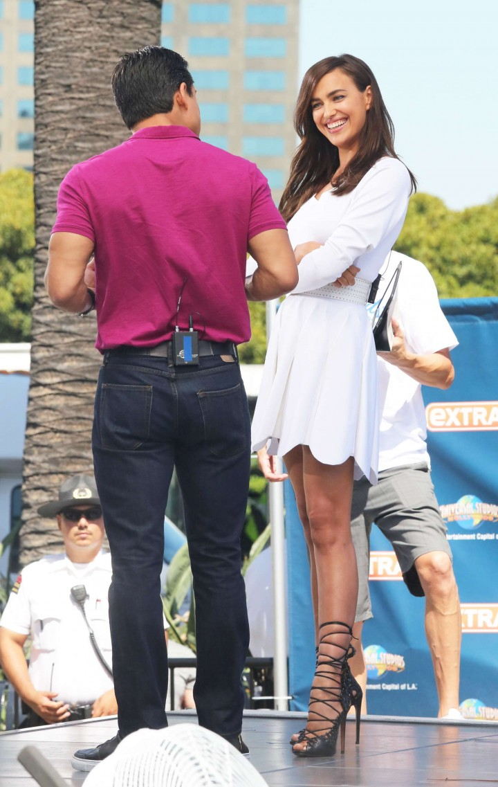 Irina Shayk in White Dress on Extra Set -56