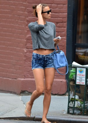 Irina Shayk in Shorts out in the West Village in New York City