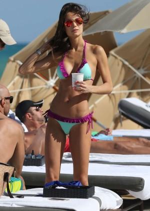 Júlia Pereira in Bikini on Miami Beach