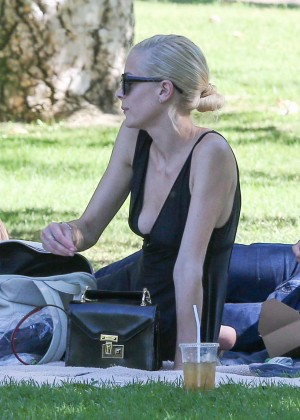 Jaime King in Black Dress at the park in LA