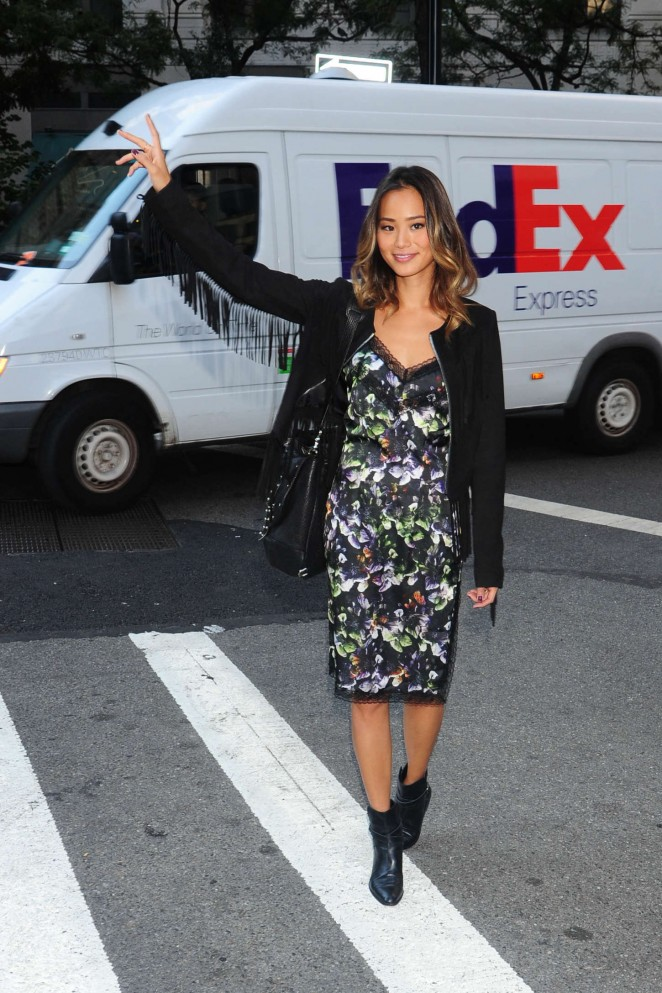 Jamie Chung in Floral Dress -01