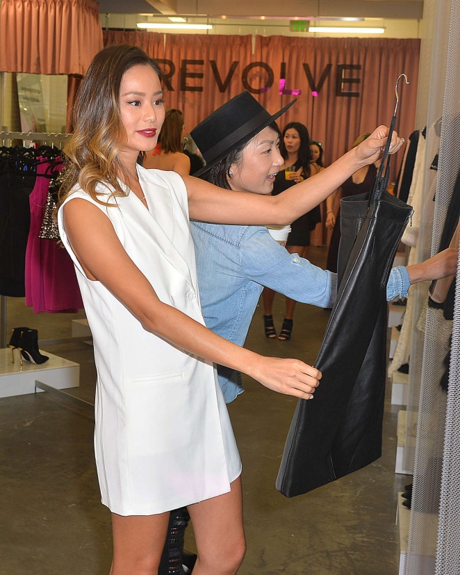 Jamie Chung in Mini Dress at Revolve PopUp Shop in West Hollywood
