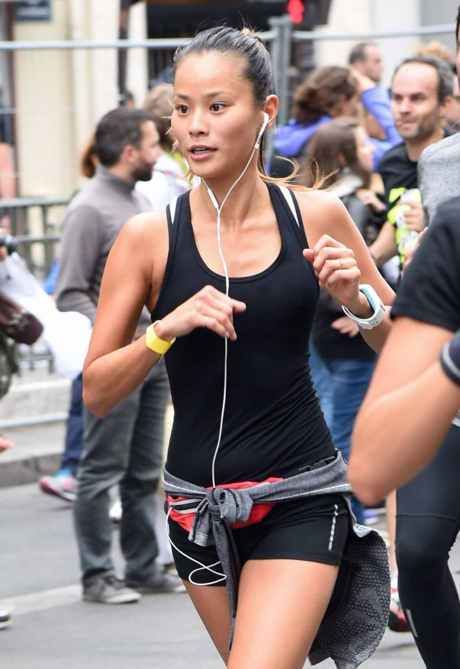 Jamie Chung in Shorts Running in the Nike 10km Paris Centre Marathon in Paris