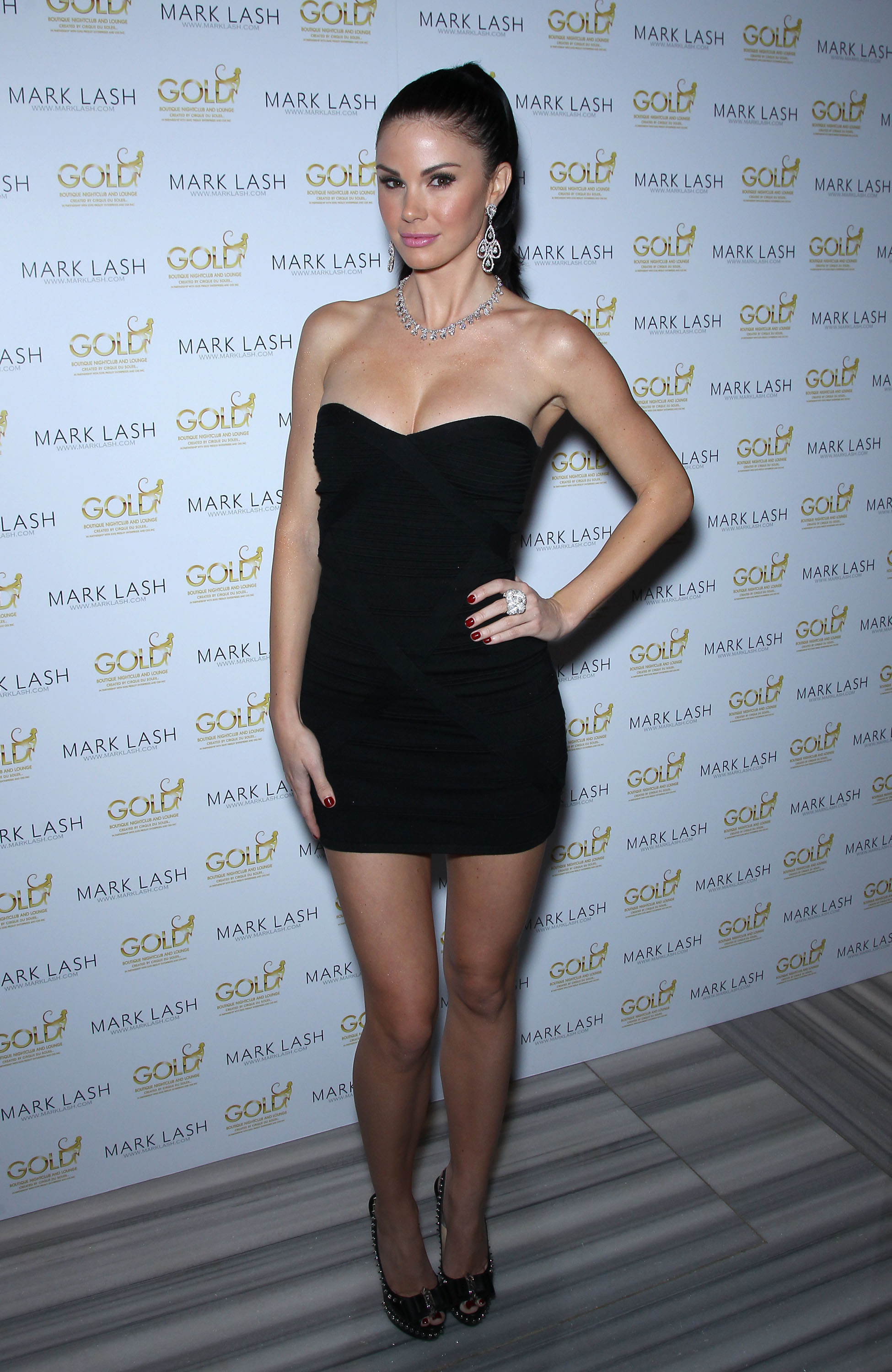 Jayde Nicole Black Dress Candids At Mark Lash Jewelry Showcase