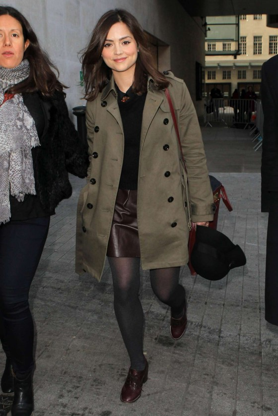 Jenna Louise Coleman arriving at BBC Radio 1 in London
