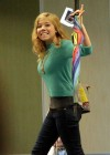 Jennette McCurdy looking pretty at an airport in Vancouver