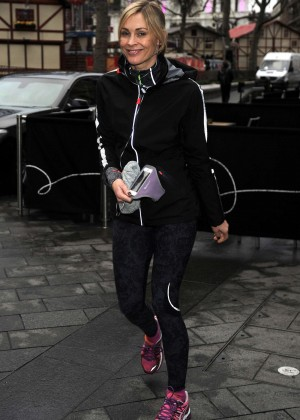Jenni Falconer in Leggings Out Jogging in London