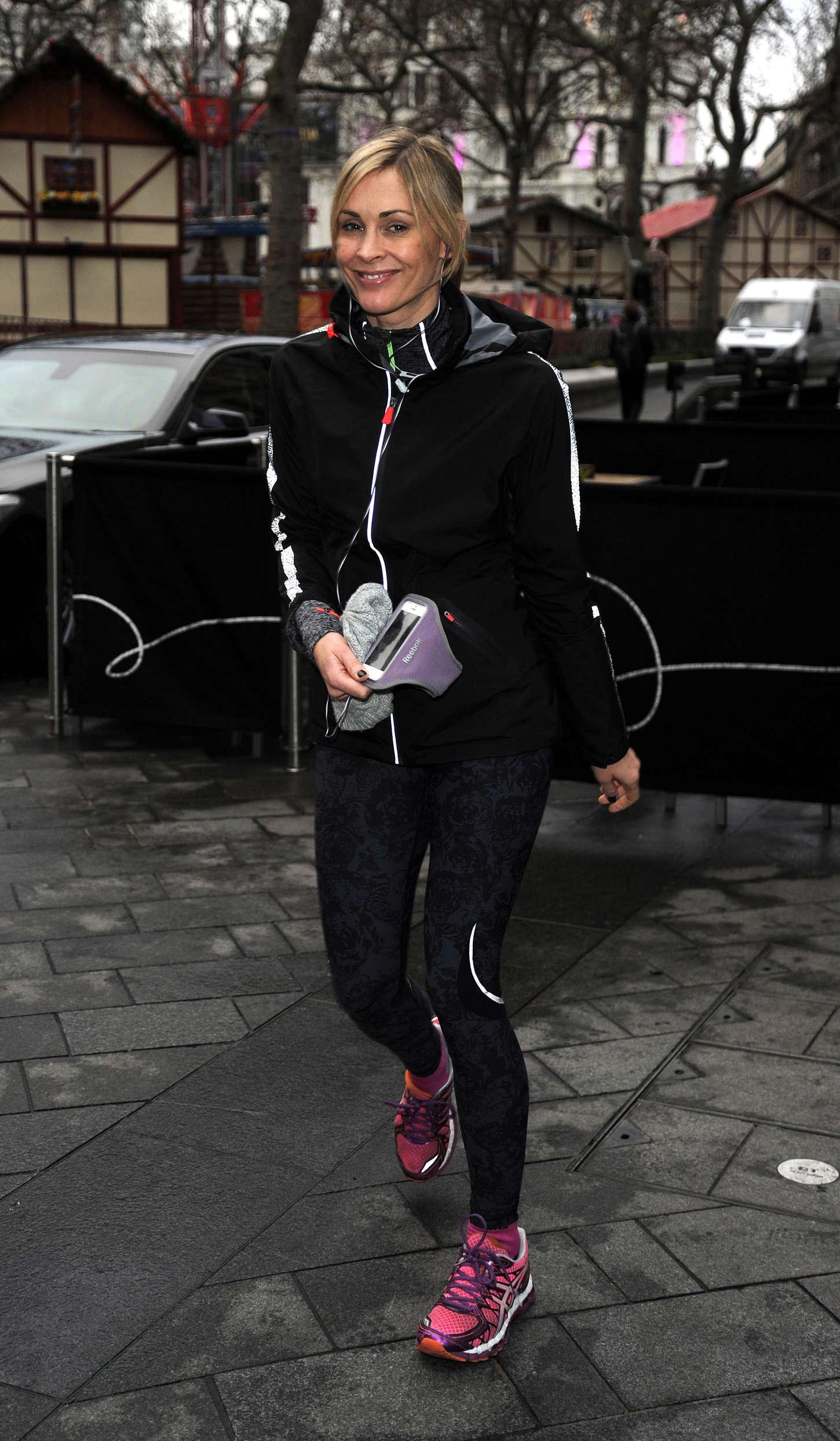 Jenni Falconer in Leggings Out Jogging in London
