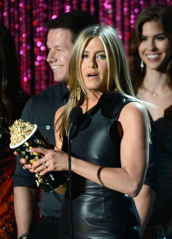 Jennifer Aniston In a black leather dress at 2012 MTV Movie Awards at Universal Studios