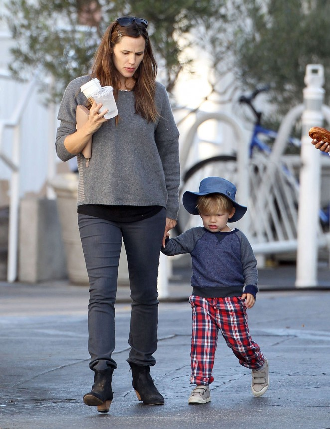Jennifer Garner with her son out in Brentwood